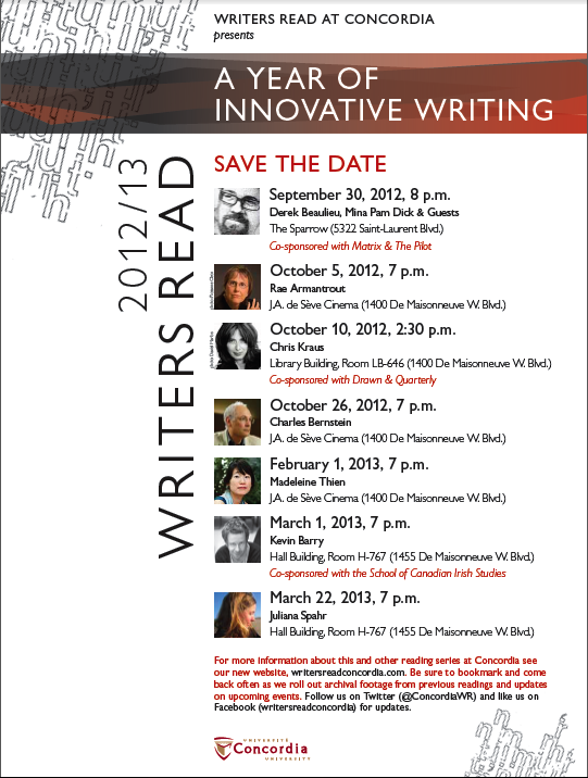 Writers Read Announces Its 2012/13 Season
