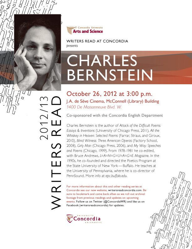 Writers Read presents Charles Bernstein (Oct. 26th)