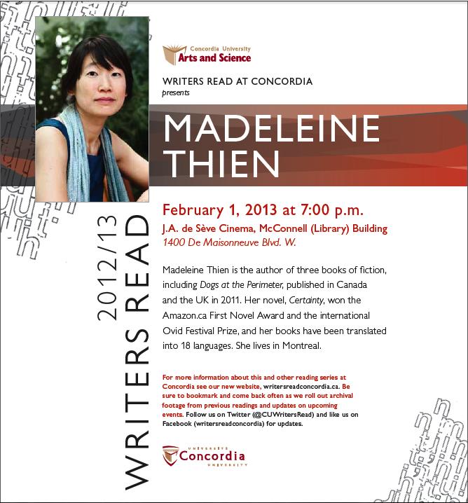 Writers Read presents Madeleine Thien - Feb. 1
