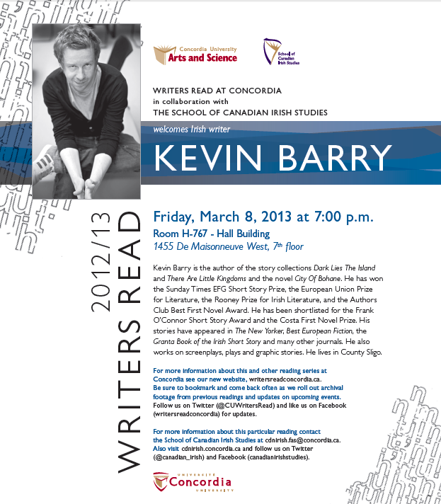 Kevin Barry - March 8th