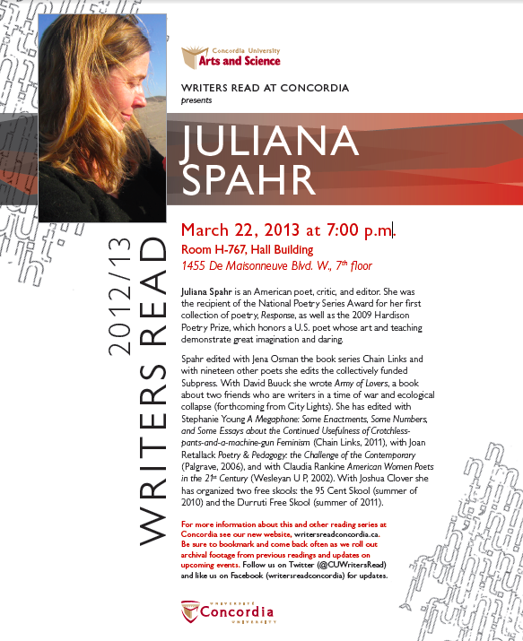 Juliana Spahr - poster time!