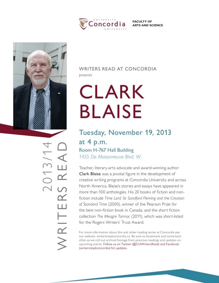 Clark Blaise poster sample